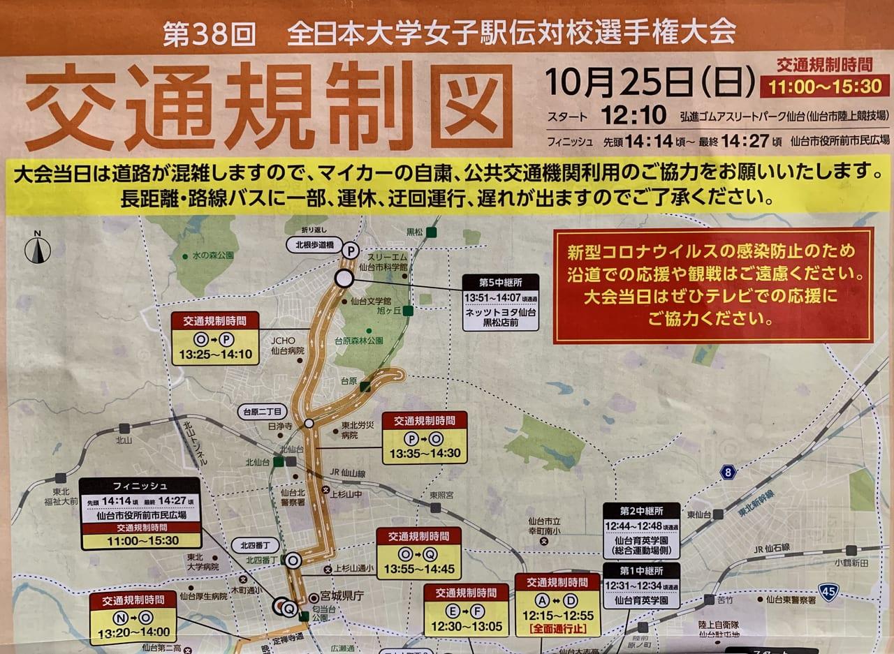 全日本大学女子駅伝交通規制図